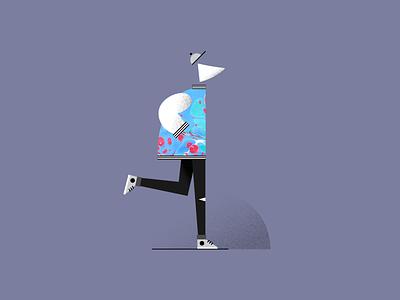 Walkin into the Weekend texture vector minimal logo illustration icon grain flat design clean character branding