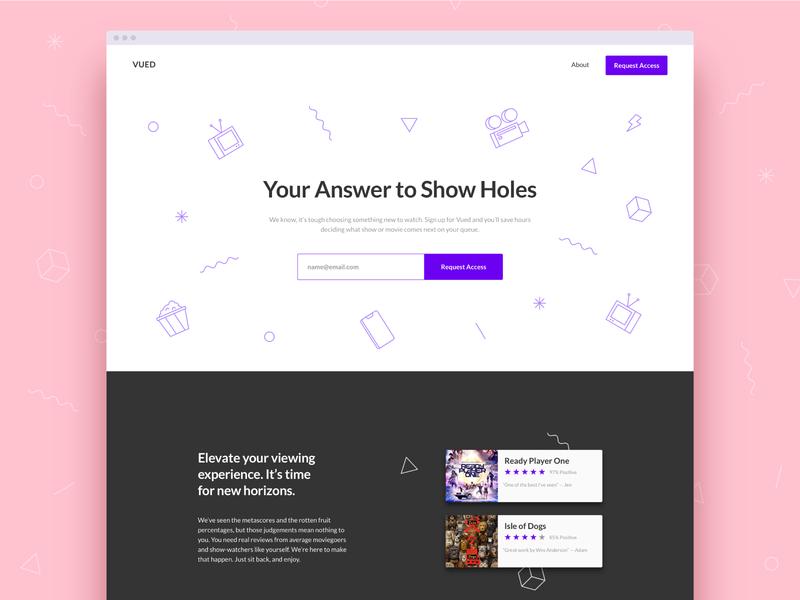 Vued Landing Page movie typography branding website clean type minimal illustration ux ui web design