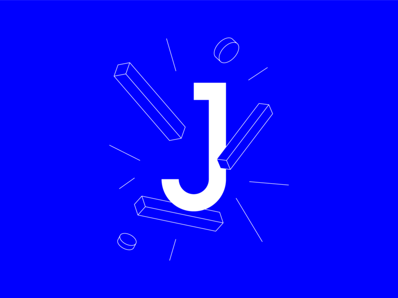 "#36DaysOfType ""J"" letter blue isometric clean vector logo typography minimal design branding illustration 36daysoftype"
