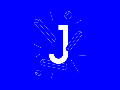"#36DaysOfType ""J"" letter blue isometric clean vector logo typography minimal design branding illustration 36daysoftype"