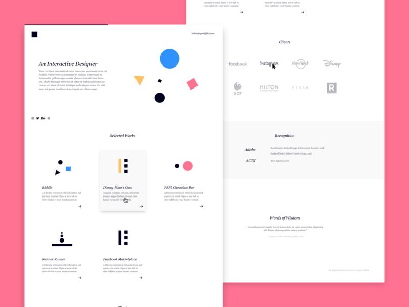 Rejected Portfolio Site 001 identity ux portfolio website ui type typography minimal web design clean branding