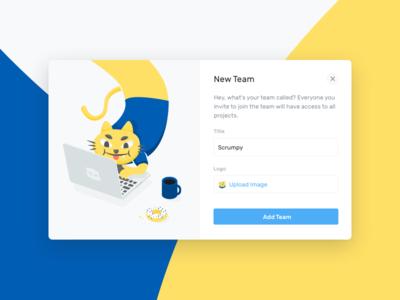 New Team Modal ux ui team cat scrum project planning management interface illustration modal agile