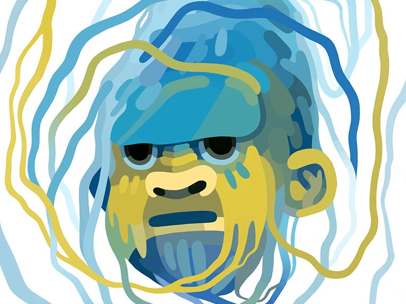 Yeti drawing painting illustration cryptozoology color abominable snowman big foot sasquatch yeti