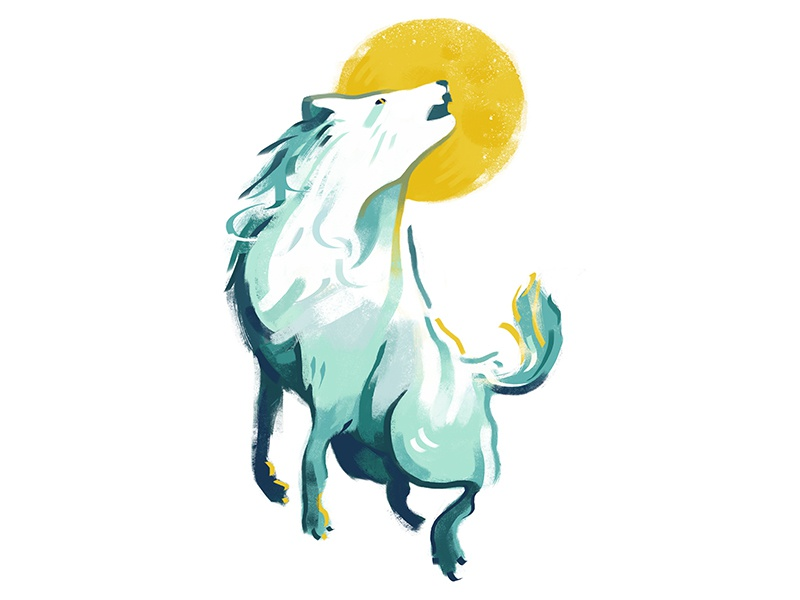 Wolf painting illustration digital animals graphic moon howl canine wolf animal