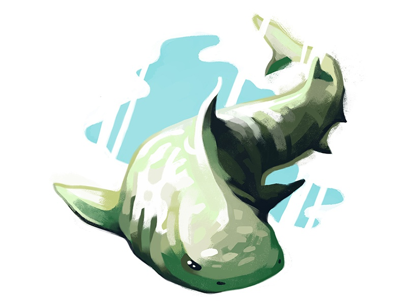 Shark drawing painting digital illustration animal water ocean beast swim shark