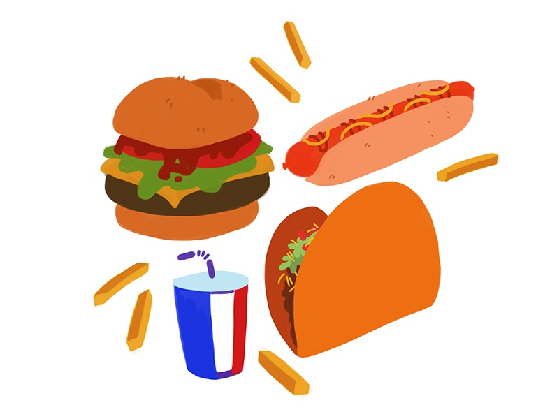 Foodz painting digital drawing illustration art soda taco hot dog fries burger food junk