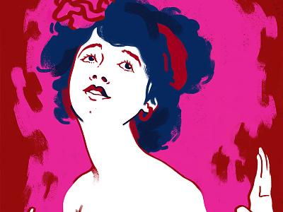 Rose digital painting illustration 40s 20s cute seductive women lady flame fire rose