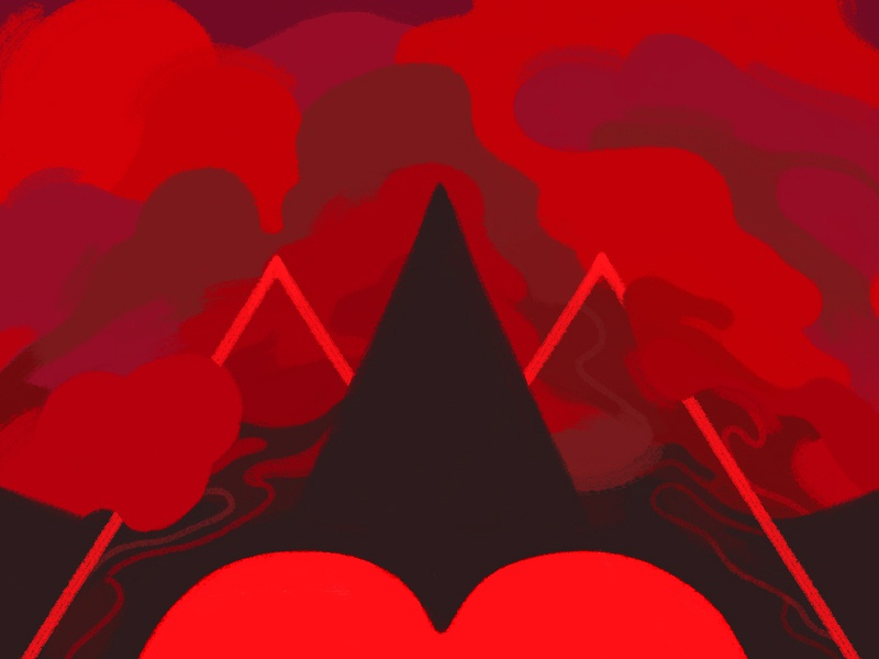 Red WIP. cloudy dreary dark geometric triangle red graffiti wip abstract