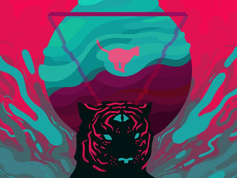 Phobia graffiti neon drop resolve fear flow phobia alchemy water cat tiger