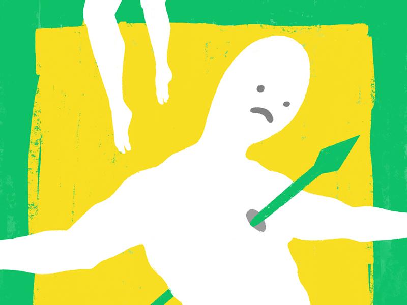 Impale stab spear rebirth sad fate death kill impale silhouette yellow green