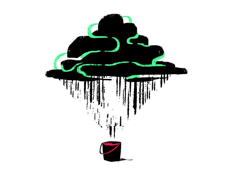 Catch black pink green fill store collect harness cloud rain bucket catch
