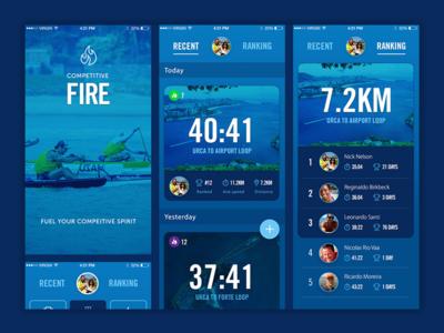 Competitive Fire interface blue colour visual design app