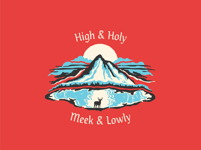 High and Holy, Meek and Lowly texture poem deer mountains illustration