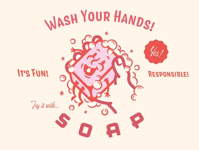 PSA: Wash Your Nasty Hands! branding mid-century clean character quarantine wash your hands soap illustration