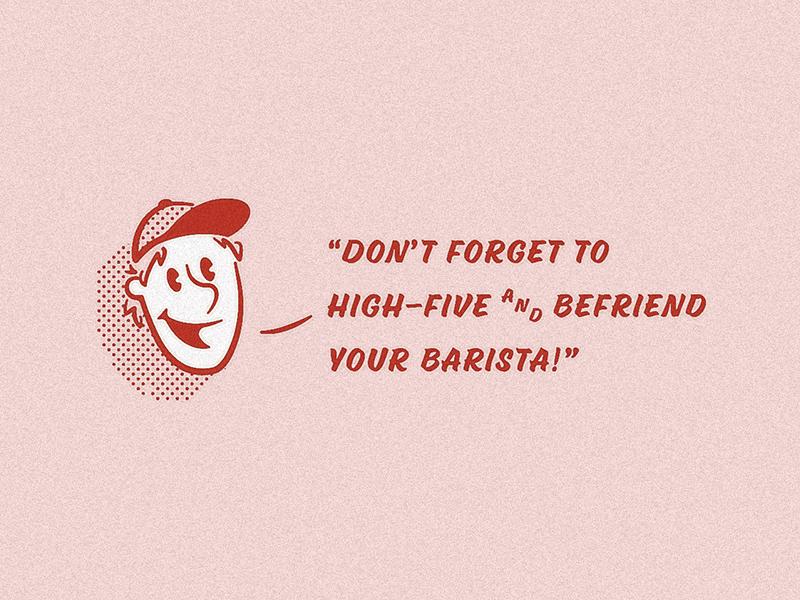 Befriend Your Barista! menu design halftone character illustration coffee barista