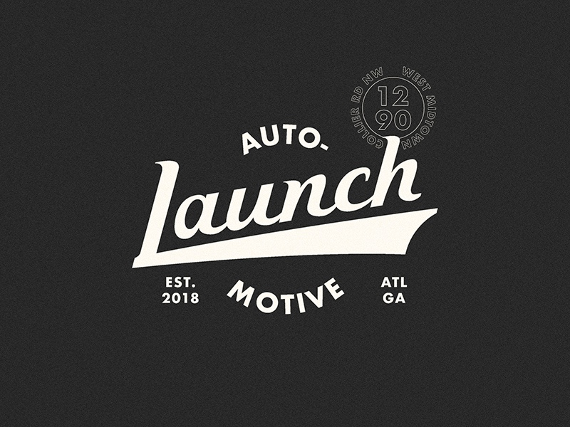 Launch Automotive Logo Concept concept logo texture bw custom typography script wordmark automotive