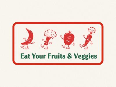 PSA adobe illustrator characters red green texture vintage characterdesign psa fruits vegetables illustration