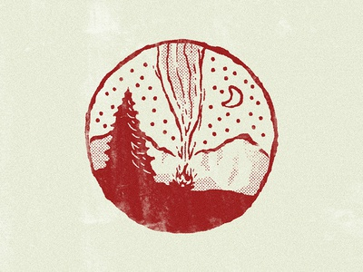 Summer Bonfire summer personal red textured camping texture rough illustration outdoors fire