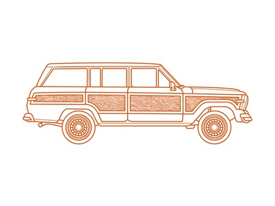 Grand Wagoneer orange vehicle simple monoline illustration car wagoneer