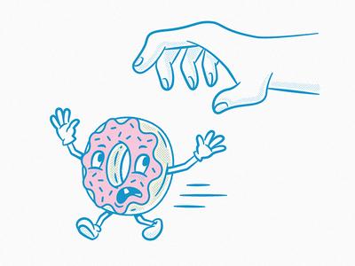 Life is hard for a talking donut halftone illustrator texture pink blue vintage donut illustration character