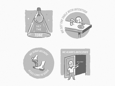 Explainer Illustrations for Passion City Church (Unused) values grayscale retro vintage cutting room floor illustration church