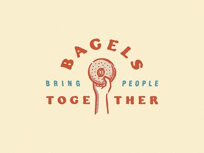 Bagels Bring People Together retro vintage cooper black typography food and drink food in the air food bagels