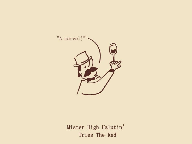 Mister High Falutin' restaurant illustration branding red wine rich fancy character illustration