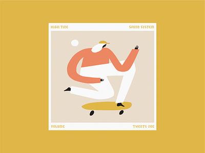 High Tide Sound System, Volume 21 high tide playlist cover summer figure illustration illustration album art skater skateboarding