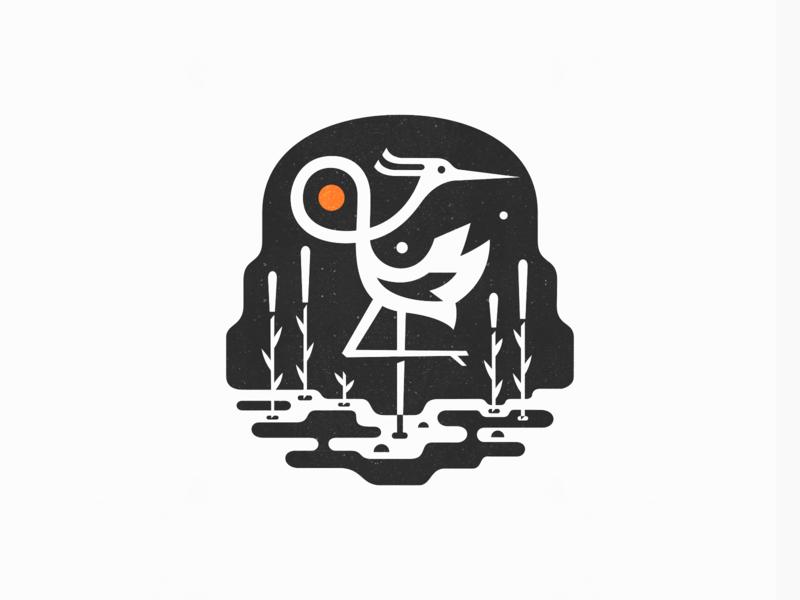 Heron ◍ sun nature patrykbelc belcdesign negativespace illustration vectors heron