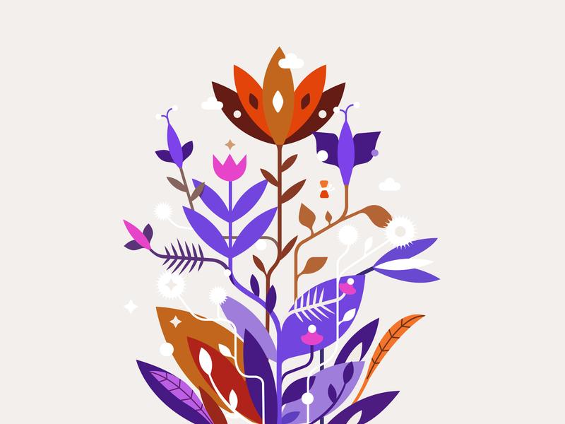 Flowers ❦✤ patrykbelc blc belcdesign vector art illustrations flowers illustration dribbbleweeklywarmup flowers