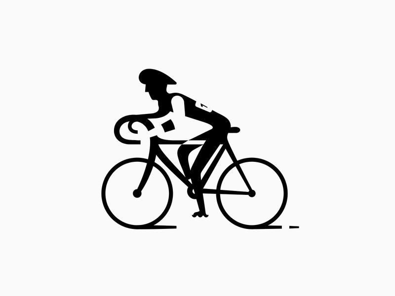 Bicyclist ⬤◯ patrykbelc blc belcdesign flatdesign negativespace logomark logodesign logo cycling bicyclist