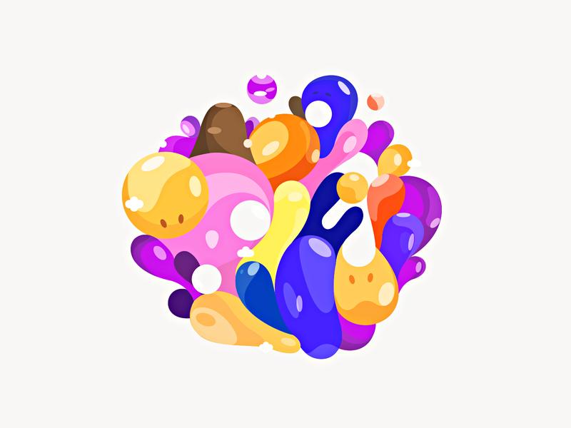 Bubbles ❣ patrykbelc blcstudio belcdesign characters print vectors illustration bubbles