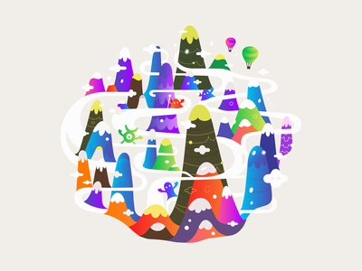 Reasel ✎ patrykbelc belcdesign characters vectors print abstract illustration clouds mountains