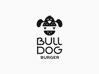 Bulldog Burger ⚈ patrykbelc belcdesign logomarks dog restaurant branding flatlogo logodesign burger logo burgers bulldog