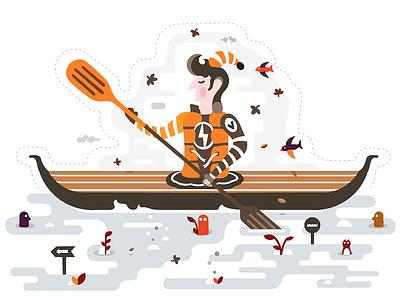 Sport Illustration / Kayaking animals illustration sport travel journey kayaking kayak