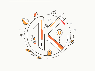 1K followers ! blc belcdesign prostyle orange fallowers 1k forfun illustration outline numbers