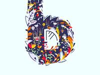 Letter B / Illustration Leaf