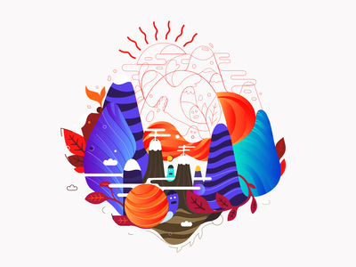 Island v.3 | wip blc belcdesign illustrator leafs mountains characters island illustration