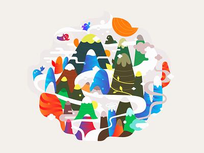 Flame ◍ print blcstudio belcdesign patrykbelc mountains nature vectors illustrator illustration