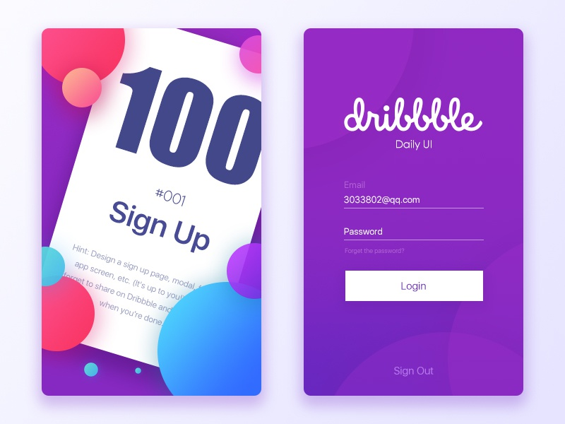 Sign Up by Luobing on Dribbble