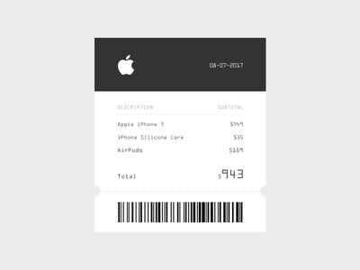 Email Receipt apple clean ux ui daily receipt email