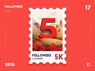Followers 5K followers red gif illustrator ui 5k