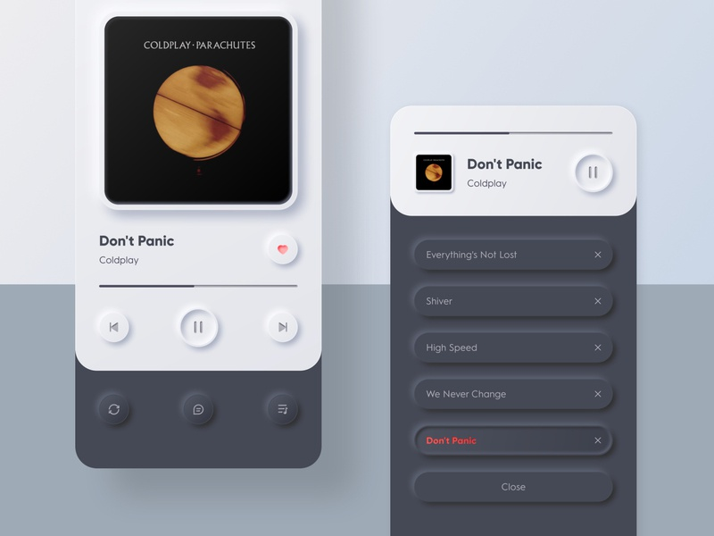 Music Player clean design dribbble page daily ui