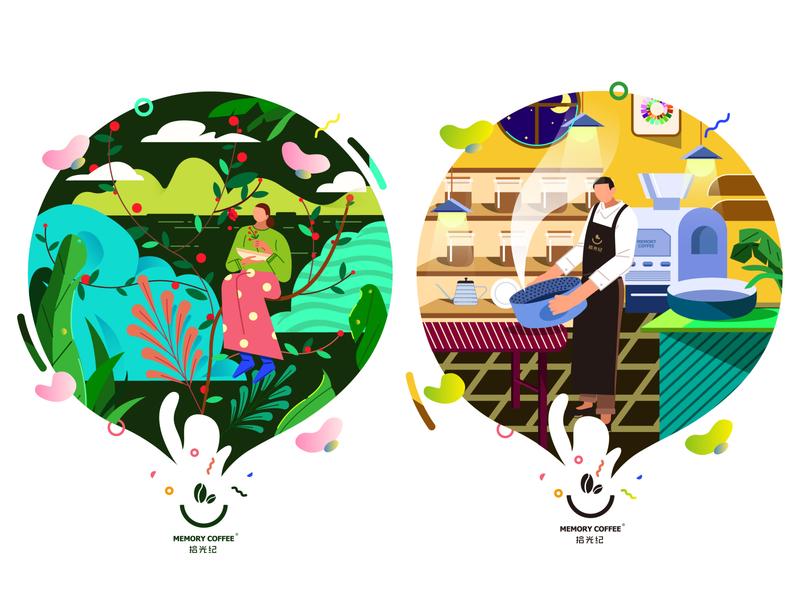 cafe shop 1 ui design illustrations