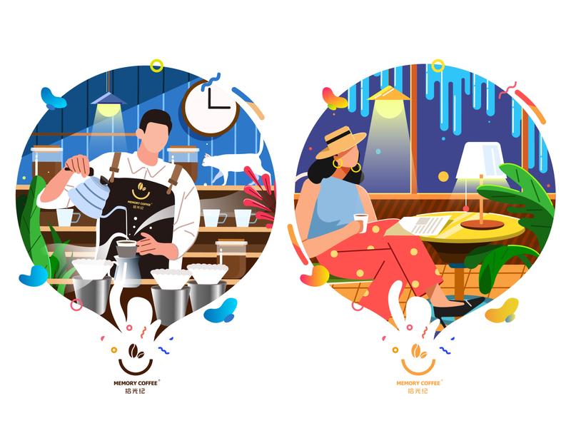cafe shop 02 ui branding illustrations