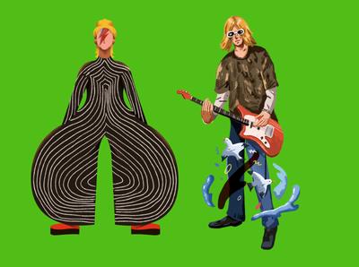 rockstar guitar rock music design illustrations