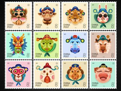 Chinese zodiac 1—12 ui icon design illustrations