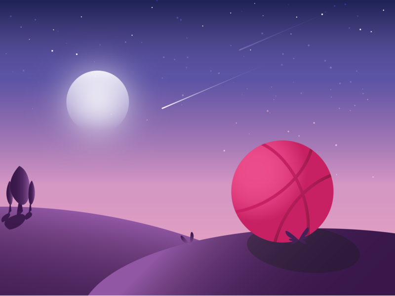 Landed Safely to Dribbble stars dusk gradient moon ball