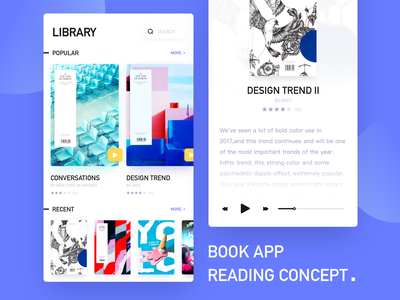 Books app Concept 卡 蓝色 插图 扁平 设计 特征 创作的 library app library book app book