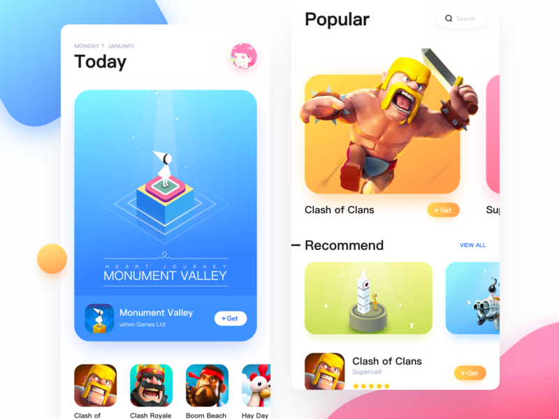 App Store game pink blue app store app ui. illustration design